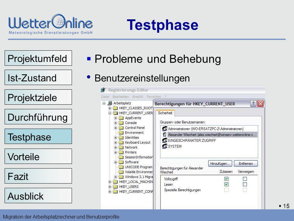 15 Testphase Migration der Arbeitsplatzrechner und Benutzerprofile Vorteile Fazit Ausblick Probleme und Behebung Benutzereinstellungen Testphase Proje