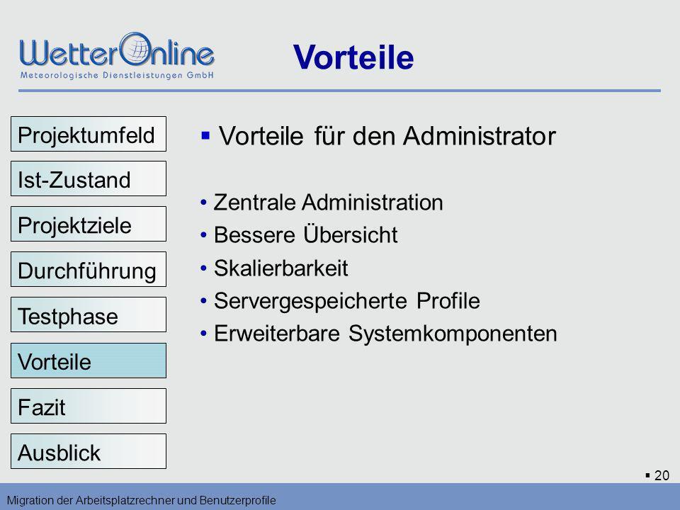 20 Vorteile Migration der Arbeitsplatzrechner und Benutzerprofile Fazit Ausblick Vorteile für den Administrator Zentrale Administration Bessere Übersi