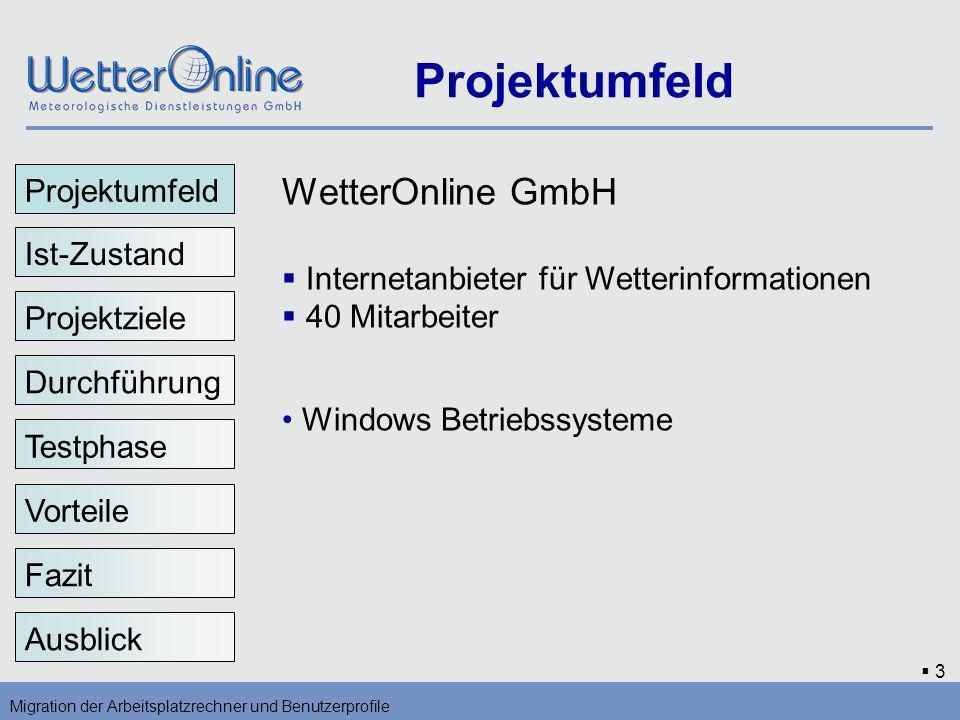 3 Projektumfeld Migration der Arbeitsplatzrechner und Benutzerprofile Projektumfeld Ist-Zustand Projektziele Durchführung Vorteile Testphase Fazit Aus