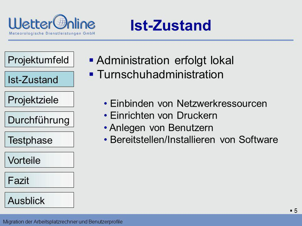 5 Ist-Zustand Migration der Arbeitsplatzrechner und Benutzerprofile Ist-Zustand Projektziele Durchführung Vorteile Testphase Fazit Ausblick Administra