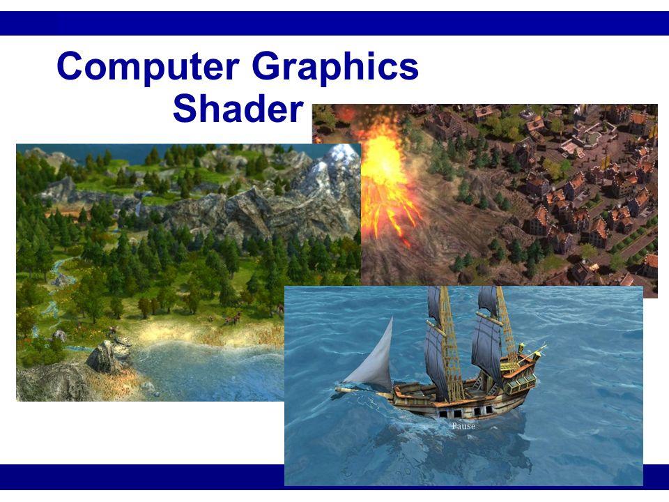 Computer Graphics: Shader 12 Mipmaps Stammt aus dem lateinischen multum in parvo, bedeutet übersetzt soviel wie Viel in Kleinem Bilden eine Anreihung von Texturen, bei der jede Folgetextur immer das gleiche Bild repräsentiert Mit jedem neuen Mipmap-Level wird die Auflösung der Textur halbiert Die Grafikkarte kann feststellen welcher Mipmap-Level die nächste Auflösung zur gewünschten Ausgabe besitzt Verringert Aliasing und erhöht damit die Bildqualität Erhöhter Speicherverbrauch