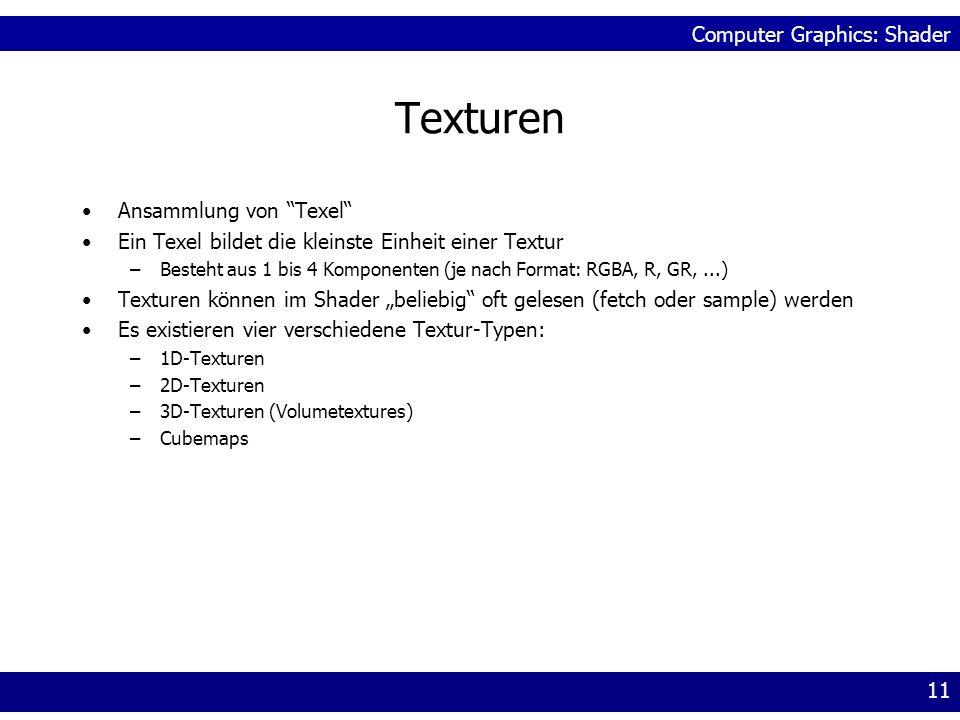 Computer Graphics: Shader 11 Texturen Ansammlung von Texel Ein Texel bildet die kleinste Einheit einer Textur –Besteht aus 1 bis 4 Komponenten (je nac