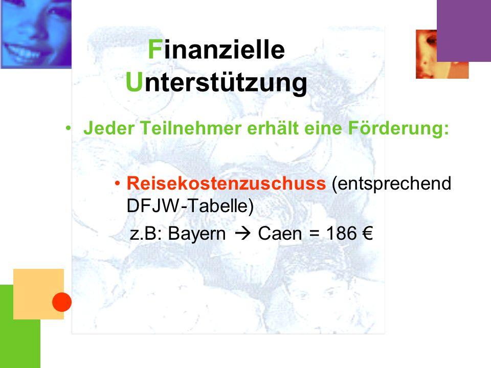 Finanzielle Unterstützung Jeder Teilnehmer erhält eine Förderung: Reisekostenzuschuss (entsprechend DFJW-Tabelle) z.B: Bayern Caen = 186