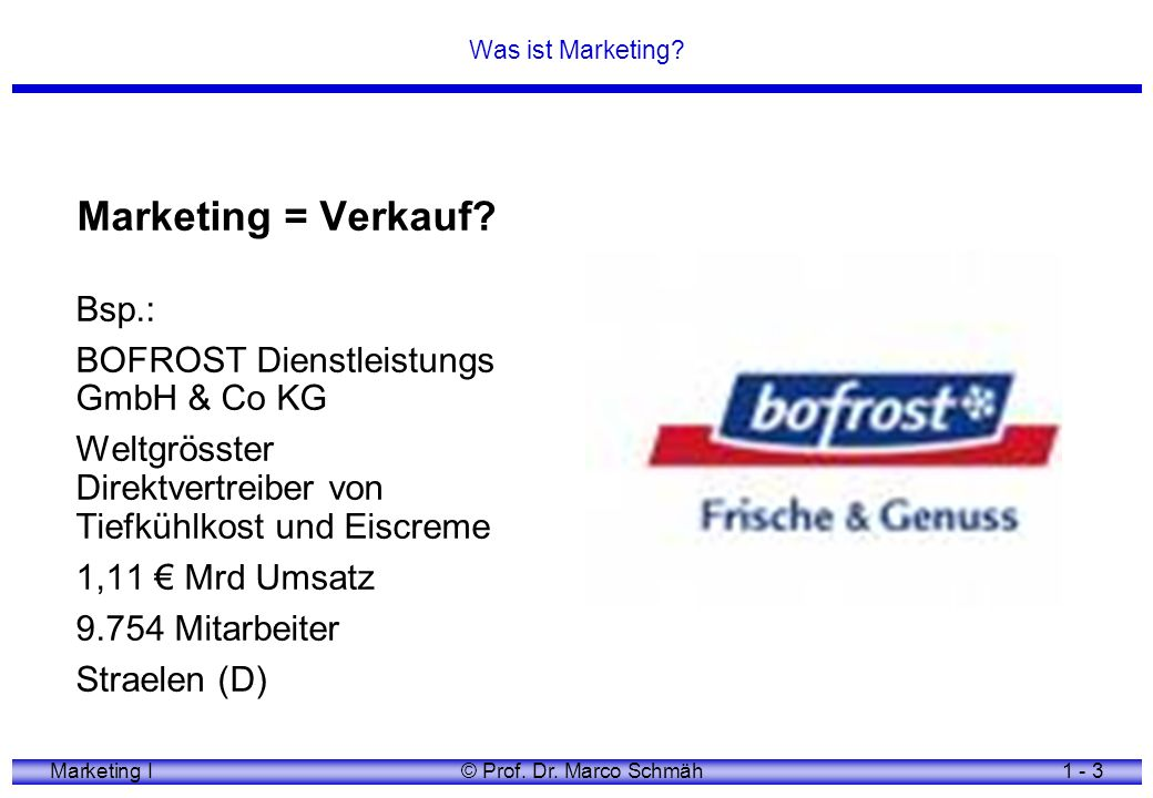 Marketing I© Prof. Dr. Marco Schmäh1 - 4 Was ist Marketing? Marketing = Organisation