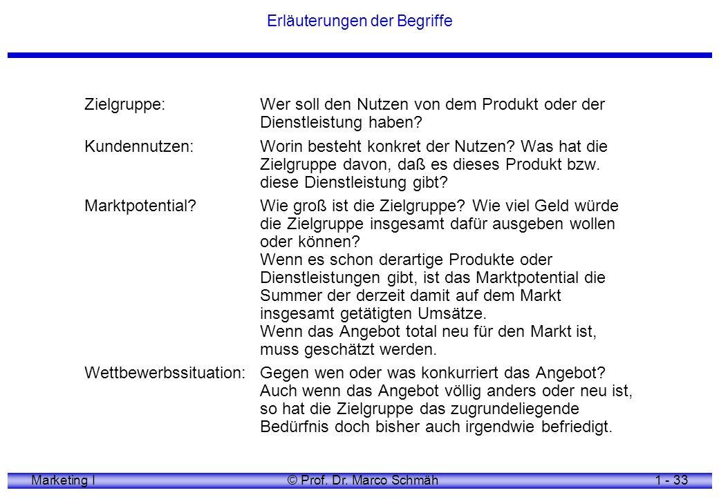 Marketing I© Prof. Dr. Marco Schmäh1 - 33 Erläuterungen der Begriffe Zielgruppe:Wer soll den Nutzen von dem Produkt oder der Dienstleistung haben? Kun