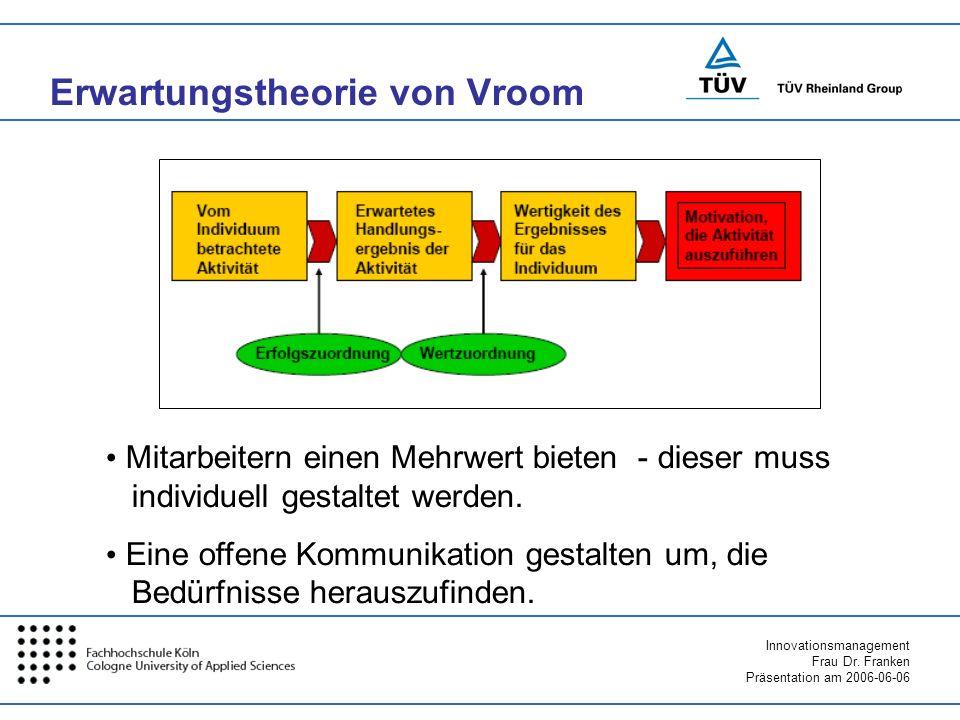 Innovationsmanagement Frau Dr. Franken Präsentation am 2006-06-06 Erwartungstheorie von Vroom Mitarbeitern einen Mehrwert bieten - dieser muss individ