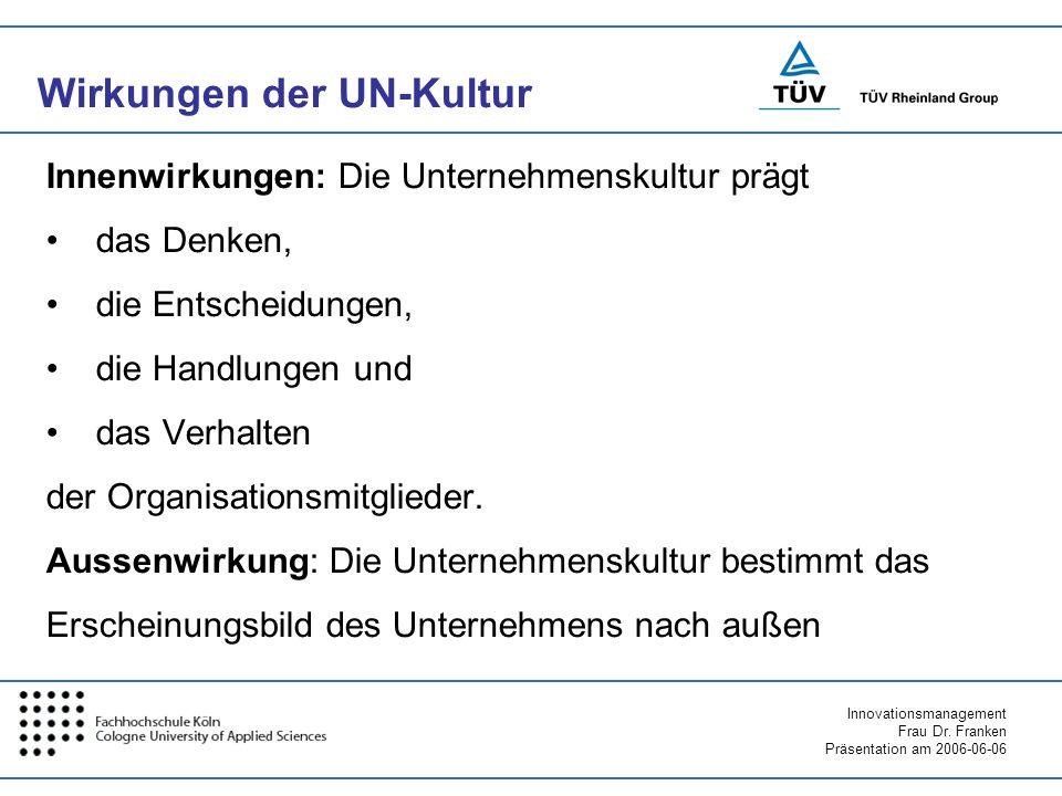 Innovationsmanagement Frau Dr. Franken Präsentation am 2006-06-06 Wirkungen der UN-Kultur Innenwirkungen: Die Unternehmenskultur prägt das Denken, die