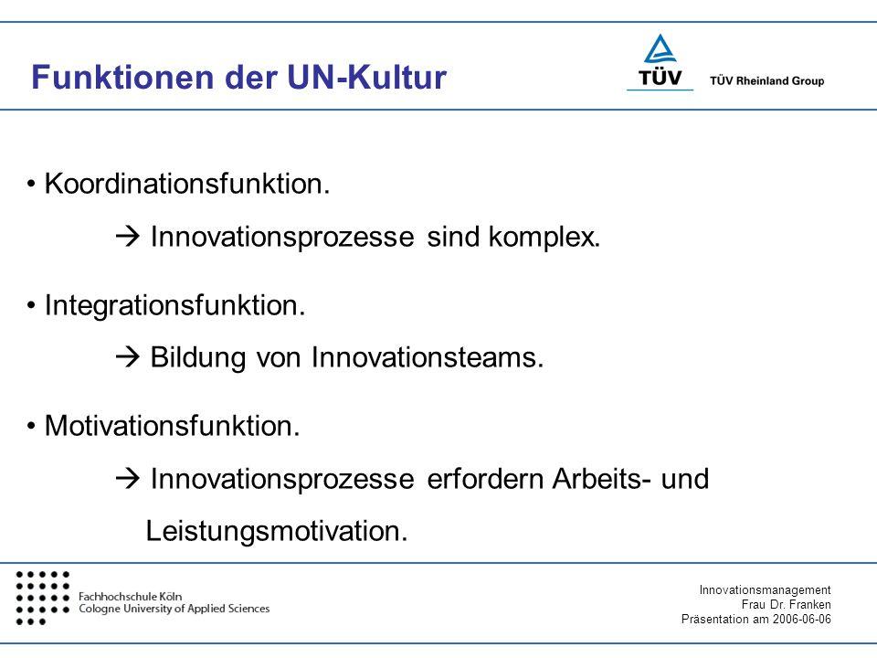 Innovationsmanagement Frau Dr. Franken Präsentation am 2006-06-06 Funktionen der UN-Kultur Koordinationsfunktion. Innovationsprozesse sind komplex. In