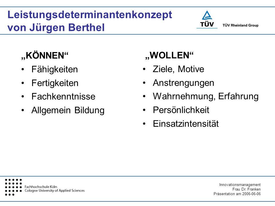 Innovationsmanagement Frau Dr. Franken Präsentation am 2006-06-06 Leistungsdeterminantenkonzept von Jürgen Berthel KÖNNEN Fähigkeiten Fertigkeiten Fac