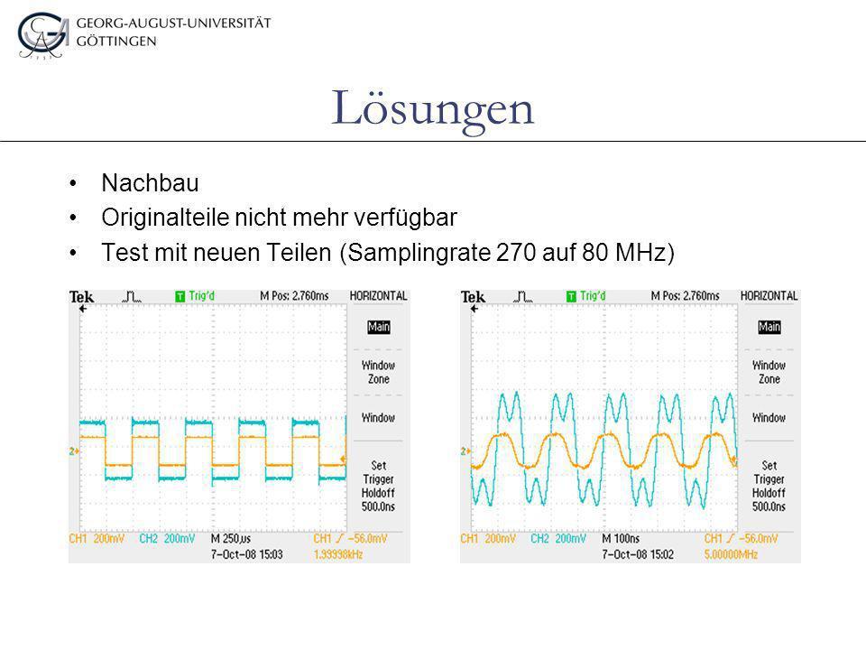 Lösungen Nachbau Originalteile nicht mehr verfügbar Test mit neuen Teilen (Samplingrate 270 auf 80 MHz)