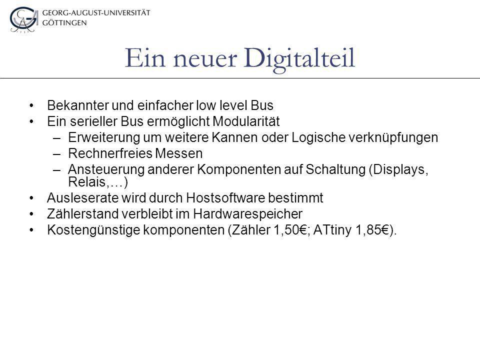 Ein neuer Digitalteil Bekannter und einfacher low level Bus Ein serieller Bus ermöglicht Modularität –Erweiterung um weitere Kannen oder Logische verk