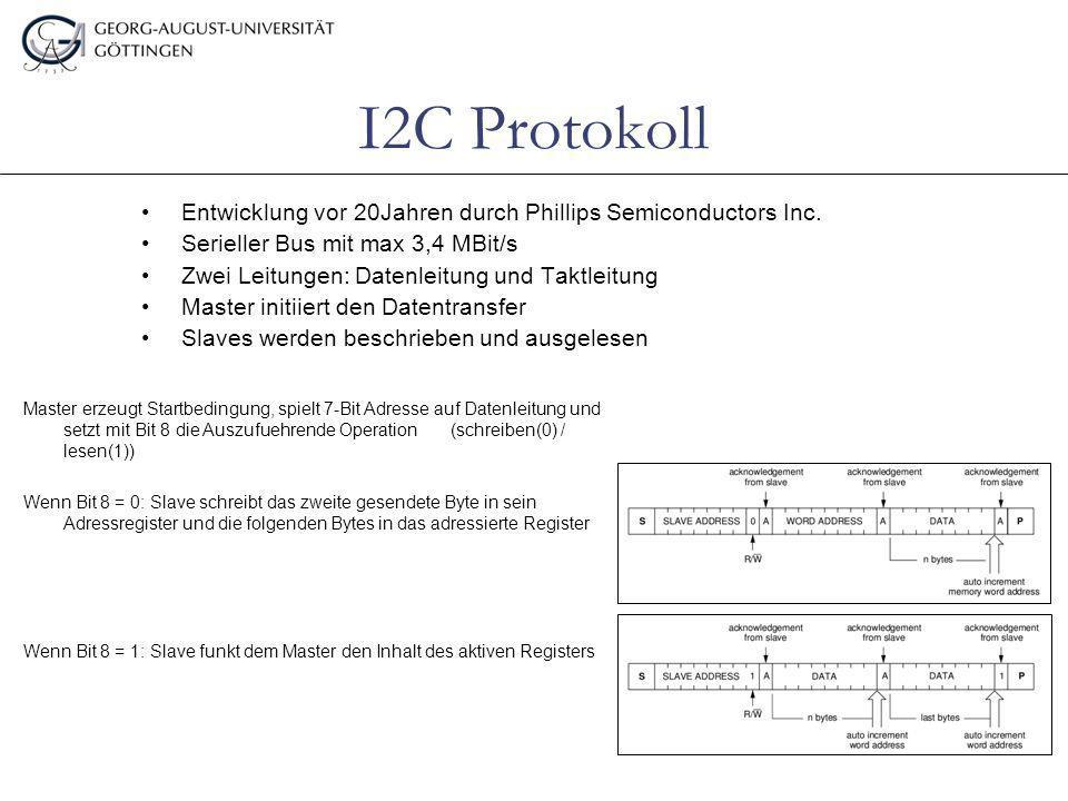 I2C Protokoll Entwicklung vor 20Jahren durch Phillips Semiconductors Inc. Serieller Bus mit max 3,4 MBit/s Zwei Leitungen:Datenleitung und Taktleitung