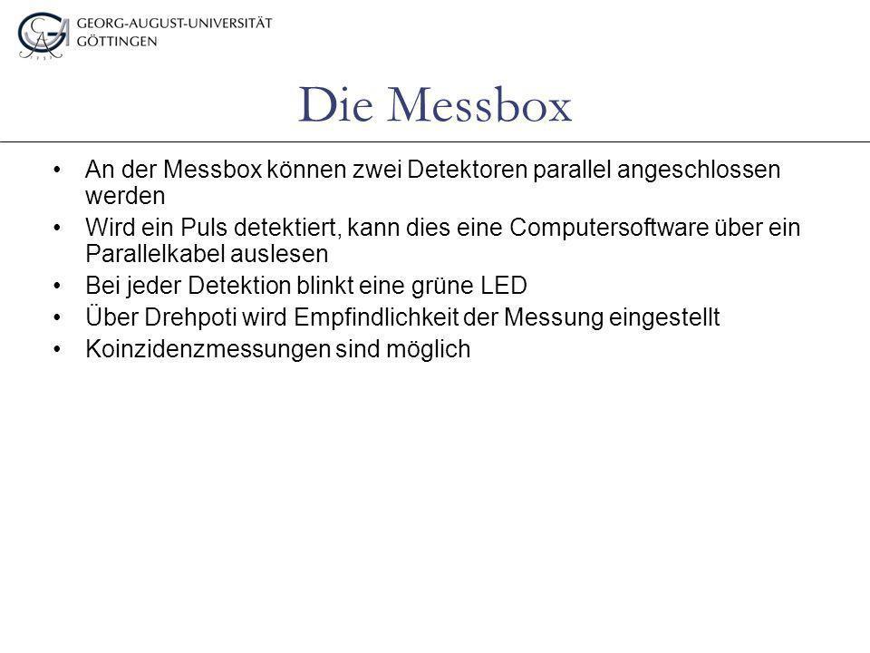 Die Messbox An der Messbox können zwei Detektoren parallel angeschlossen werden Wird ein Puls detektiert, kann dies eine Computersoftware über ein Par