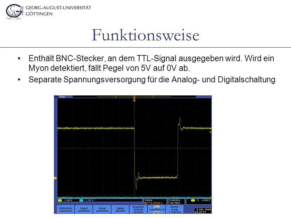 Enthält BNC-Stecker, an dem TTL-Signal ausgegeben wird. Wird ein Myon detektiert, fällt Pegel von 5V auf 0V ab. Separate Spannungsversorgung für die A