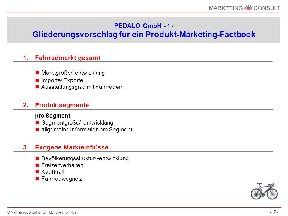 © Marketing Consult GmbH, München - 17 - 1.Fahrradmarkt gesamt Marktgröße/ -entwicklung Importe/ Exporte Ausstattungsgrad mit Fahrrädern 2.Produktsegm