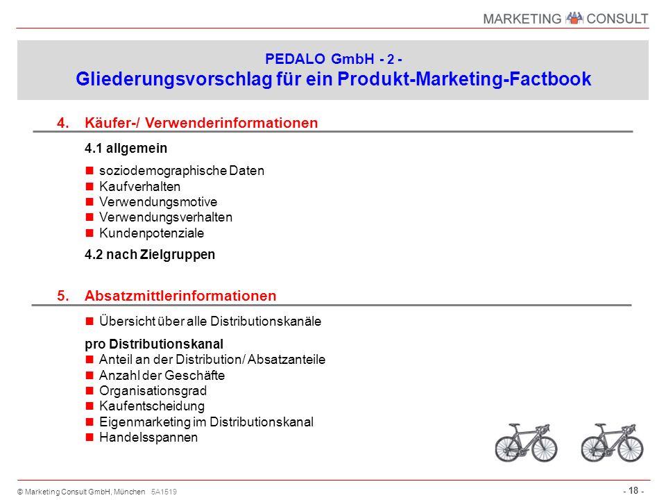 © Marketing Consult GmbH, München - 18 - 4.Käufer-/ Verwenderinformationen 4.1 allgemein soziodemographische Daten Kaufverhalten Verwendungsmotive Ver