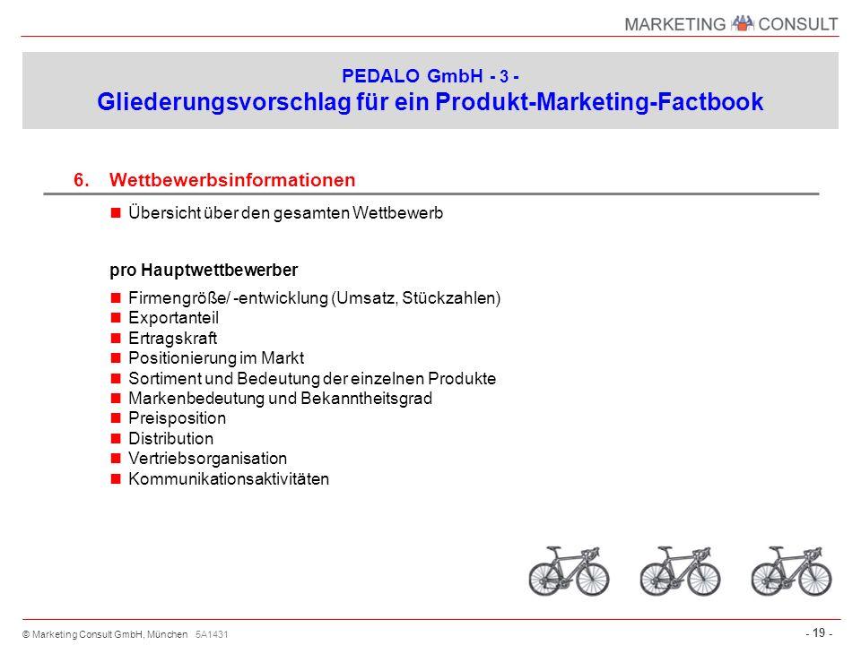 © Marketing Consult GmbH, München - 19 - 6.Wettbewerbsinformationen Übersicht über den gesamten Wettbewerb pro Hauptwettbewerber Firmengröße/ -entwick