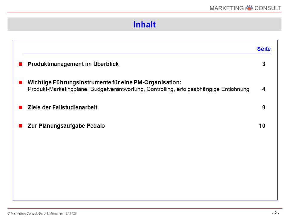 © Marketing Consult GmbH, München - 2 - Inhalt Seite Produktmanagement im Überblick3 Wichtige Führungsinstrumente für eine PM-Organisation: Produkt-Ma