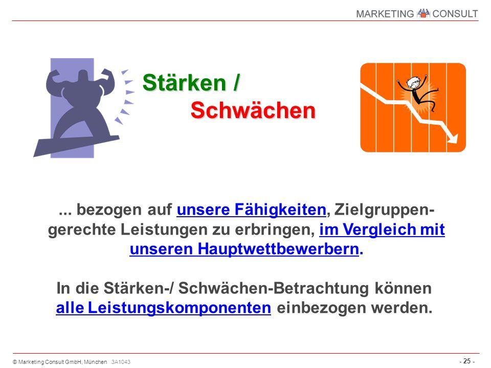 © Marketing Consult GmbH, München - 25 - 3A1043 Stärken / Schwächen... bezogen auf unsere Fähigkeiten, Zielgruppen- gerechte Leistungen zu erbringen,