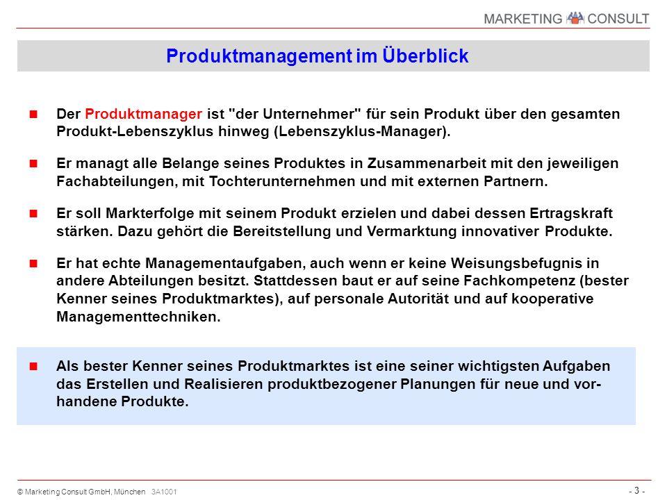 © Marketing Consult GmbH, München - 34 - 3A1068 Die Maßnahmenplanung besteht aus folgenden Bausteinen: Festlegung der Einzelmaßnahmen pro Marketinginstrument (ggf.