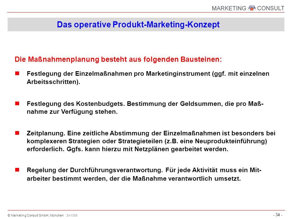 © Marketing Consult GmbH, München - 34 - 3A1068 Die Maßnahmenplanung besteht aus folgenden Bausteinen: Festlegung der Einzelmaßnahmen pro Marketingins
