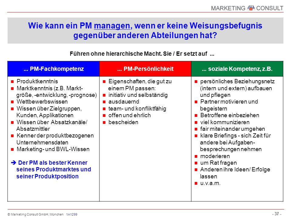 © Marketing Consult GmbH, München - 37 - Führen ohne hierarchische Macht. Sie / Er setzt auf... Wie kann ein PM managen, wenn er keine Weisungsbefugni