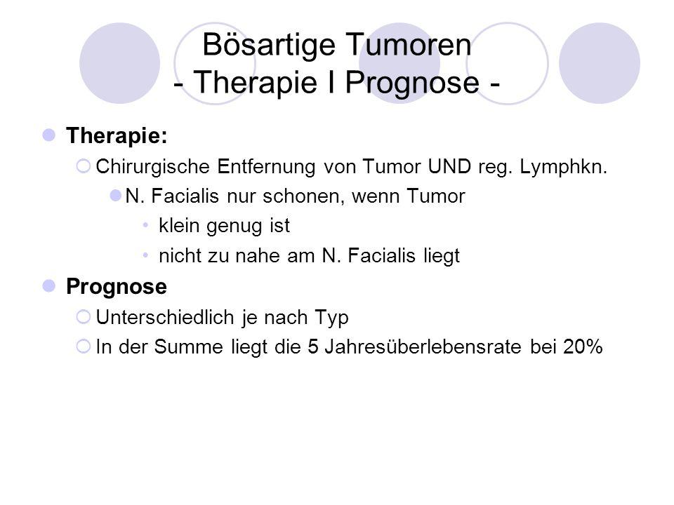 Bösartige Tumoren - Therapie I Prognose - Therapie: Chirurgische Entfernung von Tumor UND reg. Lymphkn. N. Facialis nur schonen, wenn Tumor klein genu