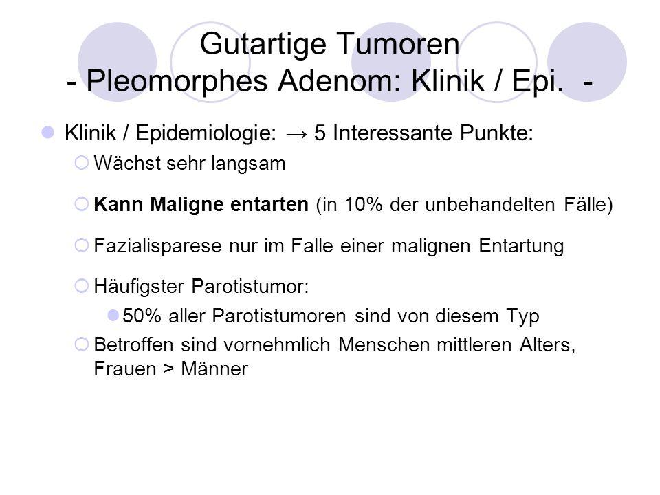 Gutartige Tumoren - Pleomorphes Adenom: Klinik / Epi. - Klinik / Epidemiologie: 5 Interessante Punkte: Wächst sehr langsam Kann Maligne entarten (in 1