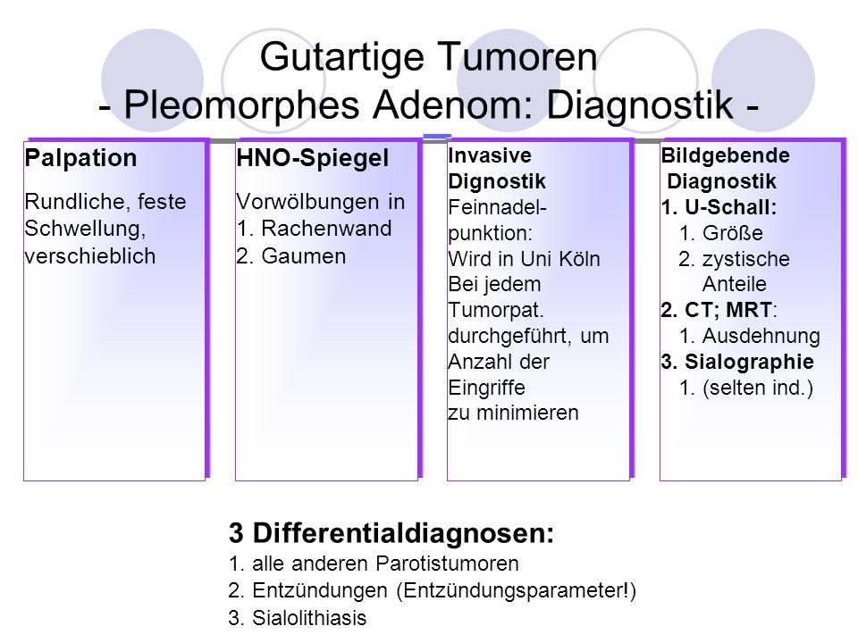 Gutartige Tumoren - Pleomorphes Adenom: Therapie I Prognose - Therapie: Partielle oder totale Parotidektomie Kapsel unversehrt mitentfernen (falls vollständig vorhanden), sonst Rezidive.