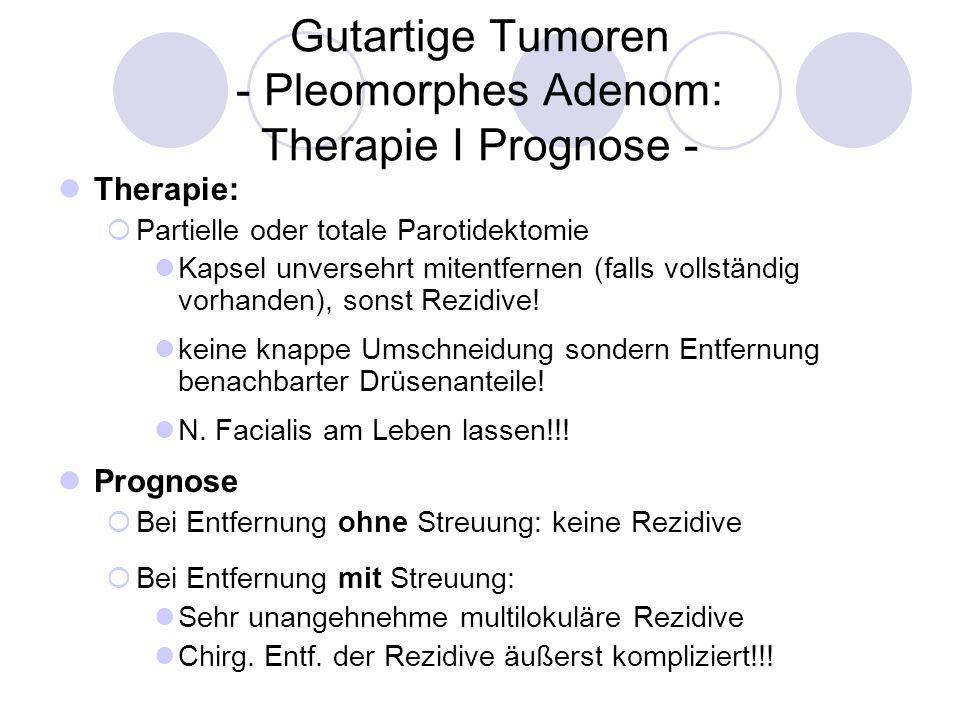 Gutartige Tumoren - Pleomorphes Adenom: Therapie I Prognose - Therapie: Partielle oder totale Parotidektomie Kapsel unversehrt mitentfernen (falls vol