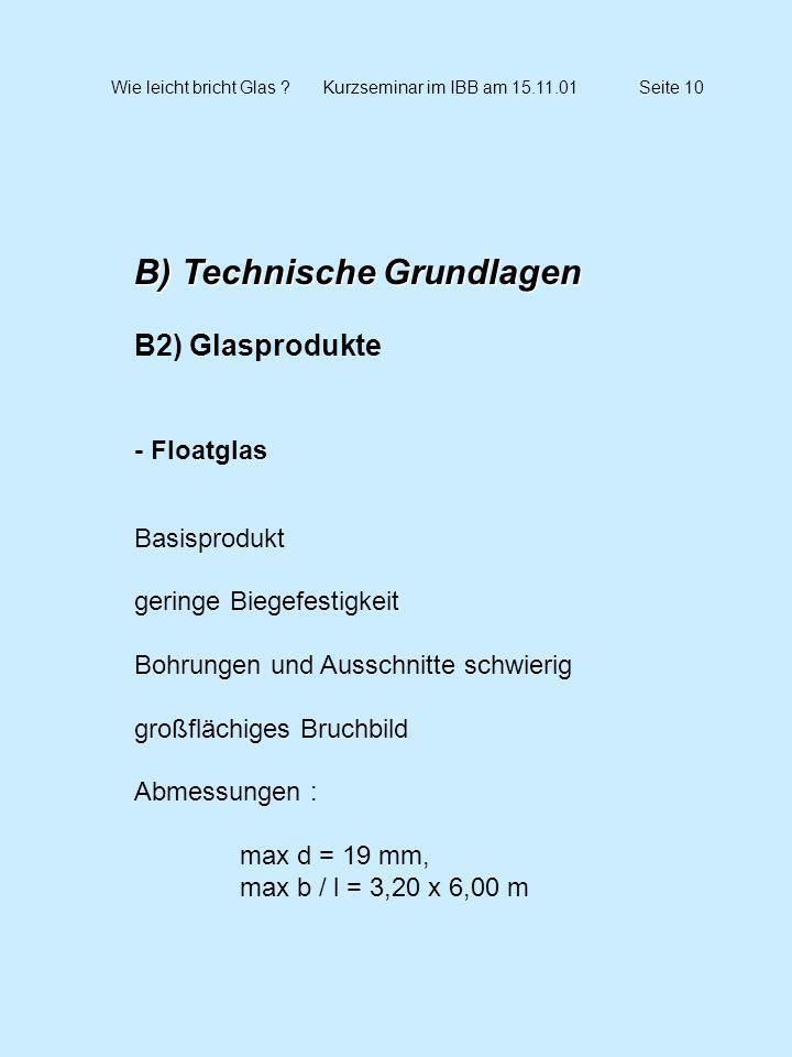 Wie leicht bricht Glas ?Kurzseminar im IBB am 15.11.01Seite 10 B) Technische Grundlagen B2) Glasprodukte - Floatglas Basisprodukt geringe Biegefestigk