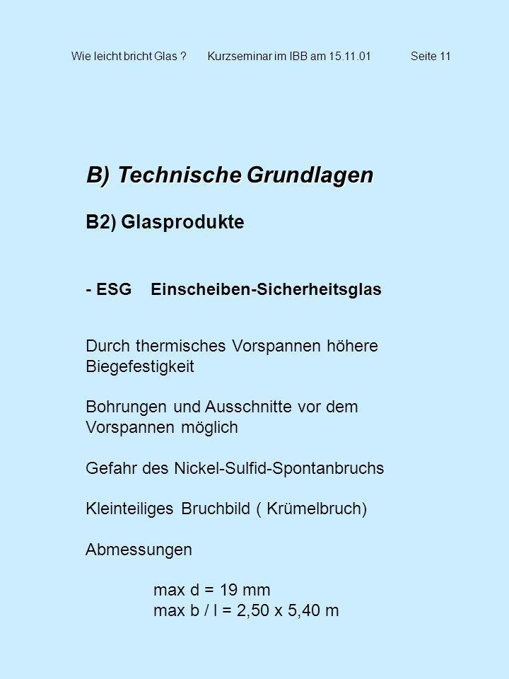 Wie leicht bricht Glas ?Kurzseminar im IBB am 15.11.01Seite 11 B) Technische Grundlagen B2) Glasprodukte - ESG Einscheiben-Sicherheitsglas Durch therm