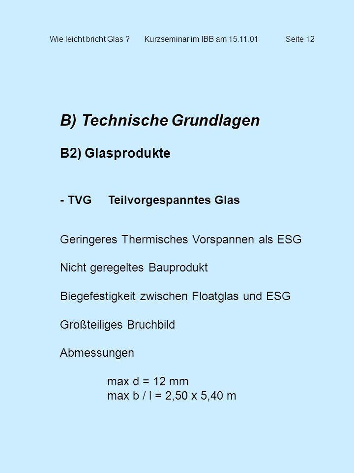 Wie leicht bricht Glas ?Kurzseminar im IBB am 15.11.01Seite 12 B) Technische Grundlagen B2) Glasprodukte - TVG Teilvorgespanntes Glas Geringeres Therm