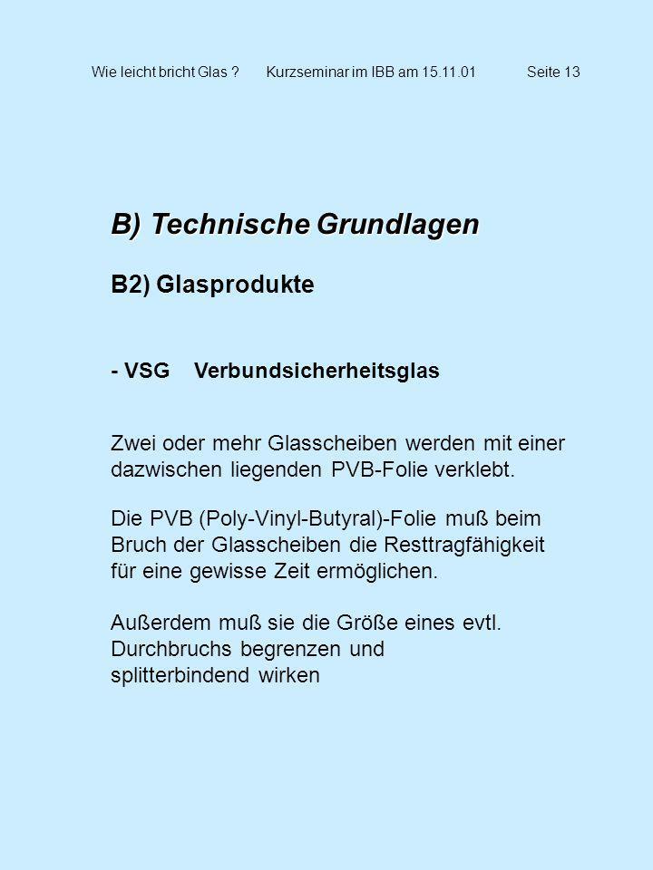 Wie leicht bricht Glas ?Kurzseminar im IBB am 15.11.01Seite 13 B) Technische Grundlagen B2) Glasprodukte - VSG Verbundsicherheitsglas Zwei oder mehr G