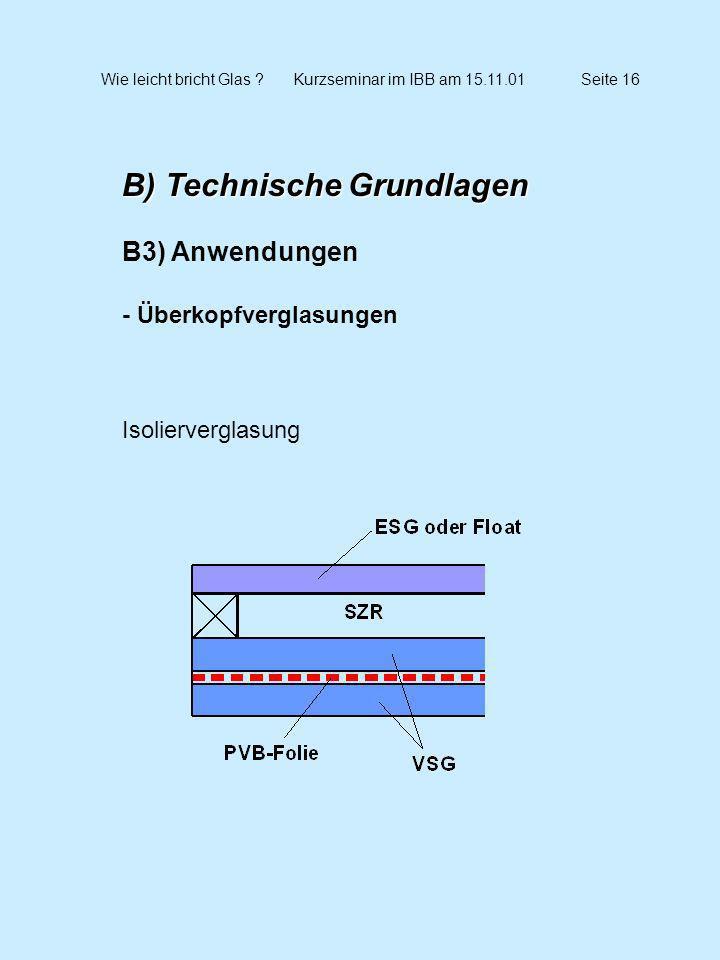 Wie leicht bricht Glas ?Kurzseminar im IBB am 15.11.01Seite 16 B) Technische Grundlagen B3) Anwendungen - Überkopfverglasungen Isolierverglasung