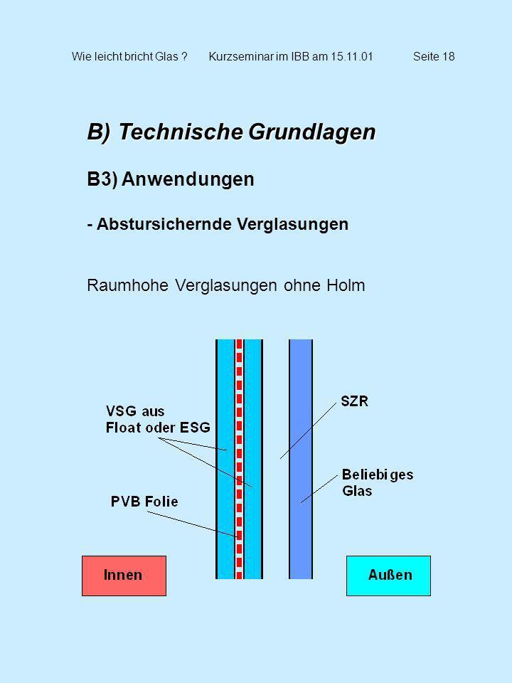 Wie leicht bricht Glas ?Kurzseminar im IBB am 15.11.01Seite 18 B) Technische Grundlagen B3) Anwendungen - Abstursichernde Verglasungen Raumhohe Vergla