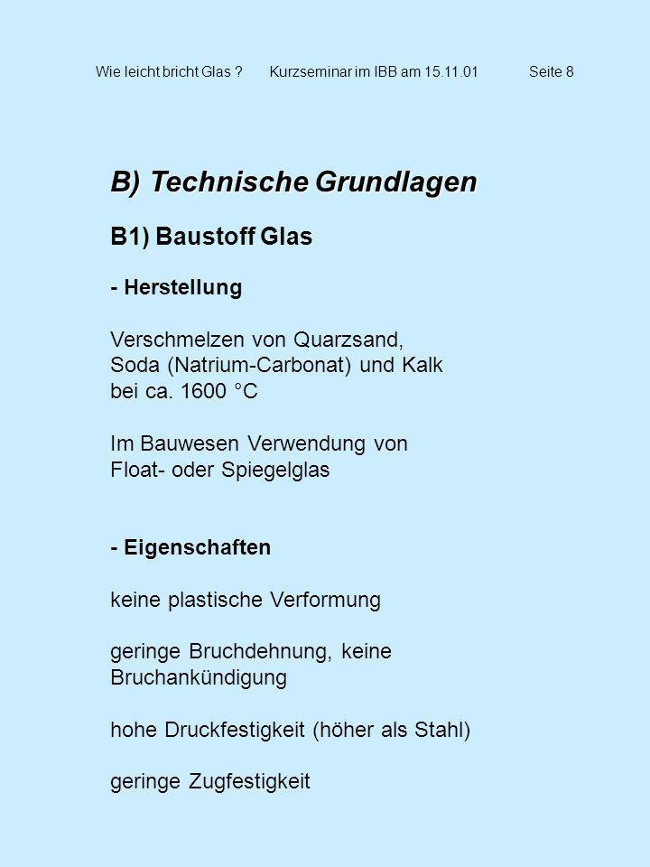 Wie leicht bricht Glas ?Kurzseminar im IBB am 15.11.01Seite 9 B) Technische Grundlagen B2) Glasprodukte - Übersicht - Floatglas - ESG Einscheiben-Sicherheitsglas - TVG Teilvorgespanntes Glas - VSG Verbundsicherheitsglas