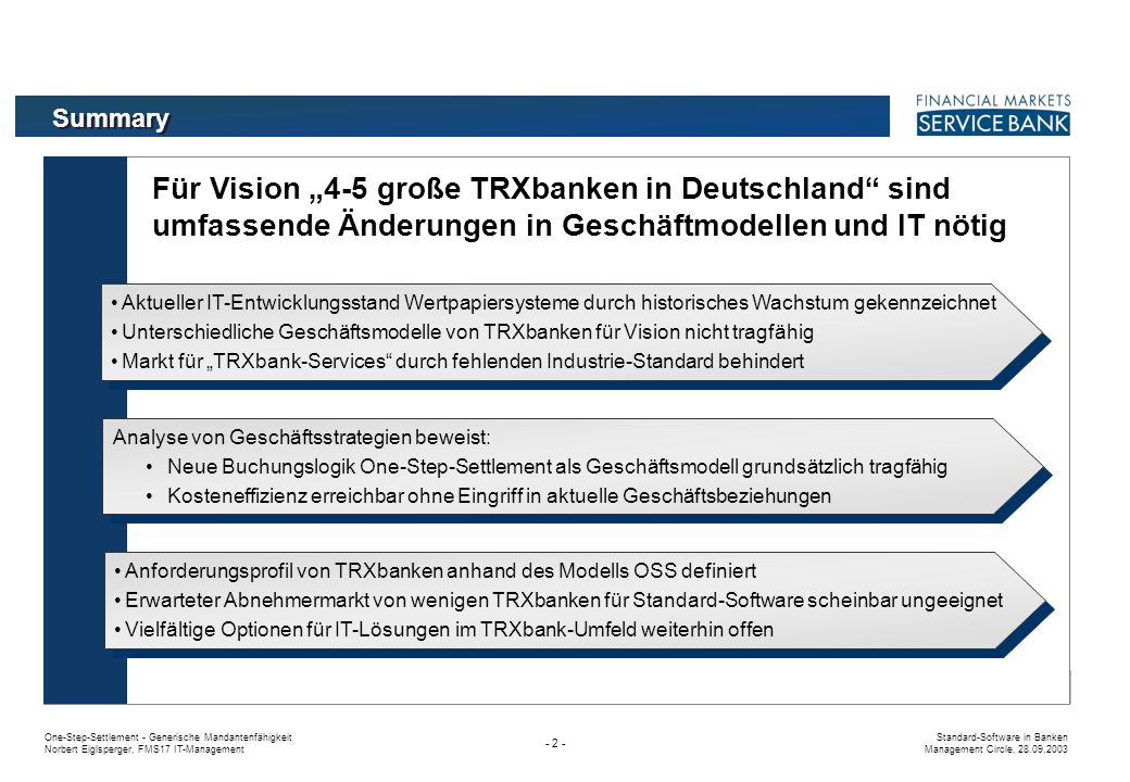 One-Step-Settlement - Generische Mandantenfähigkeit Norbert Eiglsperger, FMS17 IT-Management Standard-Software in Banken Management Circle, 28.09.2003 - 2 - Für Vision 4-5 große TRXbanken in Deutschland sind umfassende Änderungen in Geschäftmodellen und IT nötig Summary Aktueller IT-Entwicklungsstand Wertpapiersysteme durch historisches Wachstum gekennzeichnet Unterschiedliche Geschäftsmodelle von TRXbanken für Vision nicht tragfähig Markt für TRXbank-Services durch fehlenden Industrie-Standard behindert Aktueller IT-Entwicklungsstand Wertpapiersysteme durch historisches Wachstum gekennzeichnet Unterschiedliche Geschäftsmodelle von TRXbanken für Vision nicht tragfähig Markt für TRXbank-Services durch fehlenden Industrie-Standard behindert Analyse von Geschäftsstrategien beweist: Neue Buchungslogik One-Step-Settlement als Geschäftsmodell grundsätzlich tragfähig Kosteneffizienz erreichbar ohne Eingriff in aktuelle Geschäftsbeziehungen Analyse von Geschäftsstrategien beweist: Neue Buchungslogik One-Step-Settlement als Geschäftsmodell grundsätzlich tragfähig Kosteneffizienz erreichbar ohne Eingriff in aktuelle Geschäftsbeziehungen Anforderungsprofil von TRXbanken anhand des Modells OSS definiert Erwarteter Abnehmermarkt von wenigen TRXbanken für Standard-Software scheinbar ungeeignet Vielfältige Optionen für IT-Lösungen im TRXbank-Umfeld weiterhin offen Anforderungsprofil von TRXbanken anhand des Modells OSS definiert Erwarteter Abnehmermarkt von wenigen TRXbanken für Standard-Software scheinbar ungeeignet Vielfältige Optionen für IT-Lösungen im TRXbank-Umfeld weiterhin offen