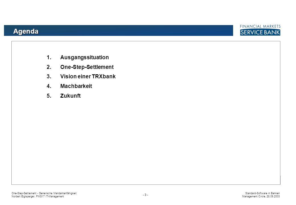 One-Step-Settlement - Generische Mandantenfähigkeit Norbert Eiglsperger, FMS17 IT-Management Standard-Software in Banken Management Circle, 28.09.2003 - 3 - Agenda 1.Ausgangssituation 2.One-Step-Settlement 3.Vision einer TRXbank 4.Machbarkeit 5.Zukunft