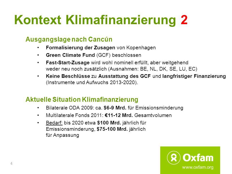 4 Kontext Klimafinanzierung 2 Ausgangslage nach Cancún Formalisierung der Zusagen von Kopenhagen Green Climate Fund (GCF) beschlossen Fast-Start-Zusag