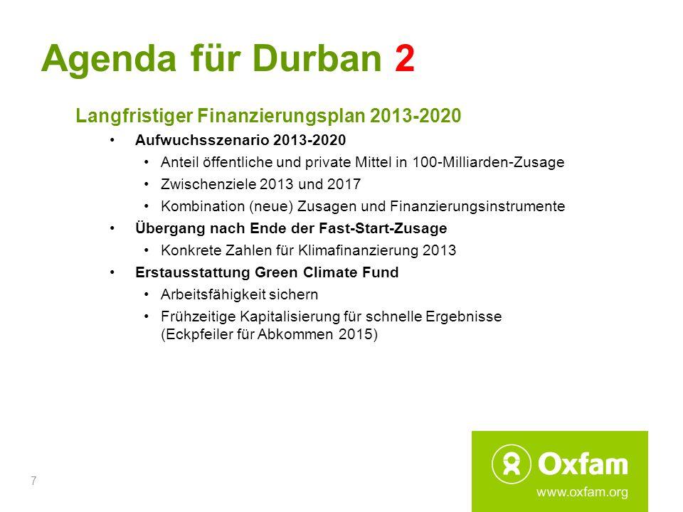 7 Agenda für Durban 2 Langfristiger Finanzierungsplan 2013-2020 Aufwuchsszenario 2013-2020 Anteil öffentliche und private Mittel in 100-Milliarden-Zus