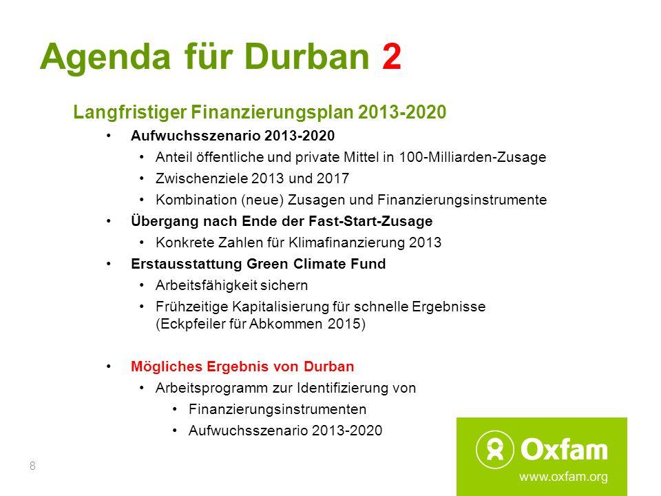 8 Agenda für Durban 2 Langfristiger Finanzierungsplan 2013-2020 Aufwuchsszenario 2013-2020 Anteil öffentliche und private Mittel in 100-Milliarden-Zus