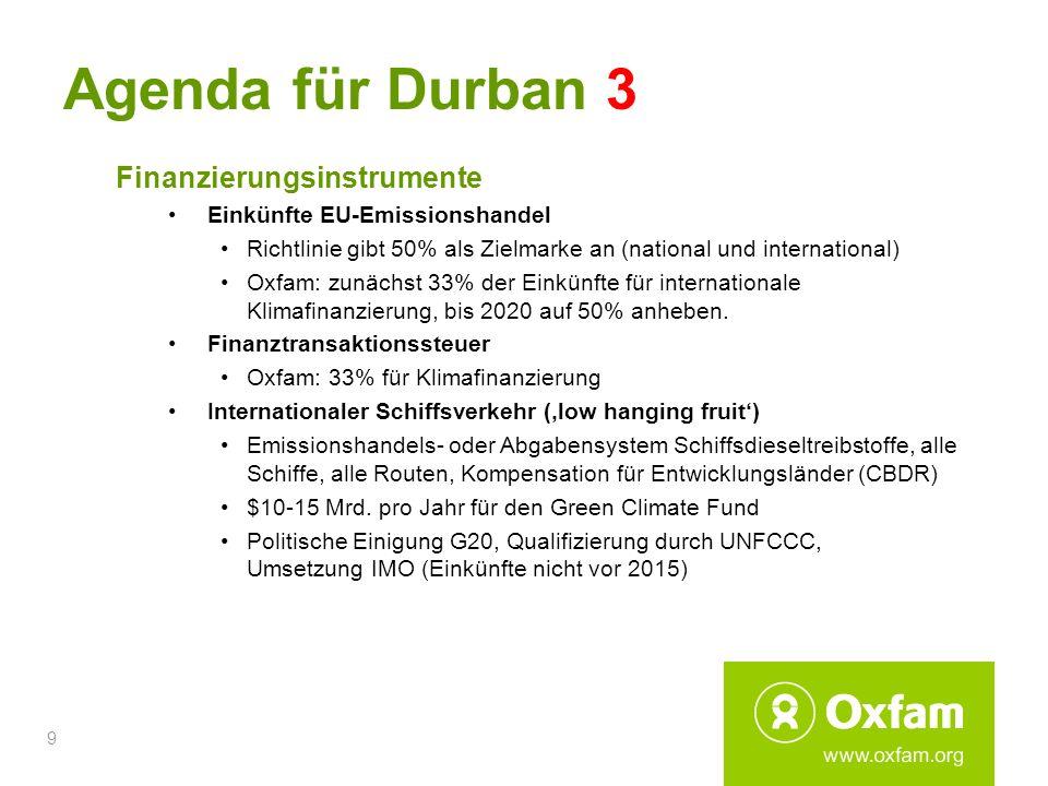9 Agenda für Durban 3 Finanzierungsinstrumente Einkünfte EU-Emissionshandel Richtlinie gibt 50% als Zielmarke an (national und international) Oxfam: z