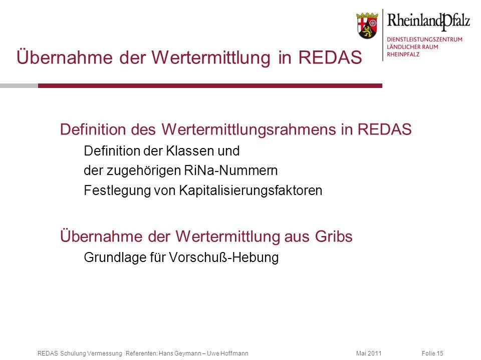 Folie 15Mai 2011REDAS Schulung Vermessung Referenten: Hans Geymann – Uwe Hoffmann Übernahme der Wertermittlung in REDAS Definition des Wertermittlungs