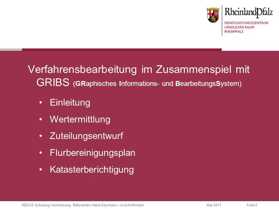 Folie 2 Mai 2011REDAS Schulung Vermessung Referenten: Hans Geymann – Uwe Hoffmann Verfahrensbearbeitung im Zusammenspiel mit GRIBS (GRaphisches Inform