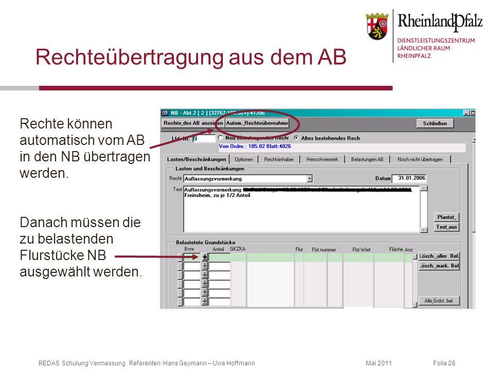 Folie 28Mai 2011REDAS Schulung Vermessung Referenten: Hans Geymann – Uwe Hoffmann Rechteübertragung aus dem AB Rechte können automatisch vom AB in den