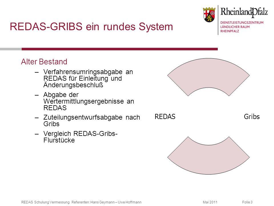 Folie 3Mai 2011REDAS Schulung Vermessung Referenten: Hans Geymann – Uwe Hoffmann REDAS-GRIBS ein rundes System Alter Bestand –Verfahrensumringsabgabe