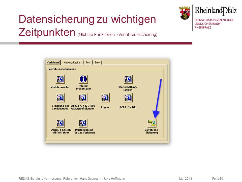 Folie 30Mai 2011REDAS Schulung Vermessung Referenten: Hans Geymann – Uwe Hoffmann Datensicherung zu wichtigen Zeitpunkten (Globale Funktionen > Verfah