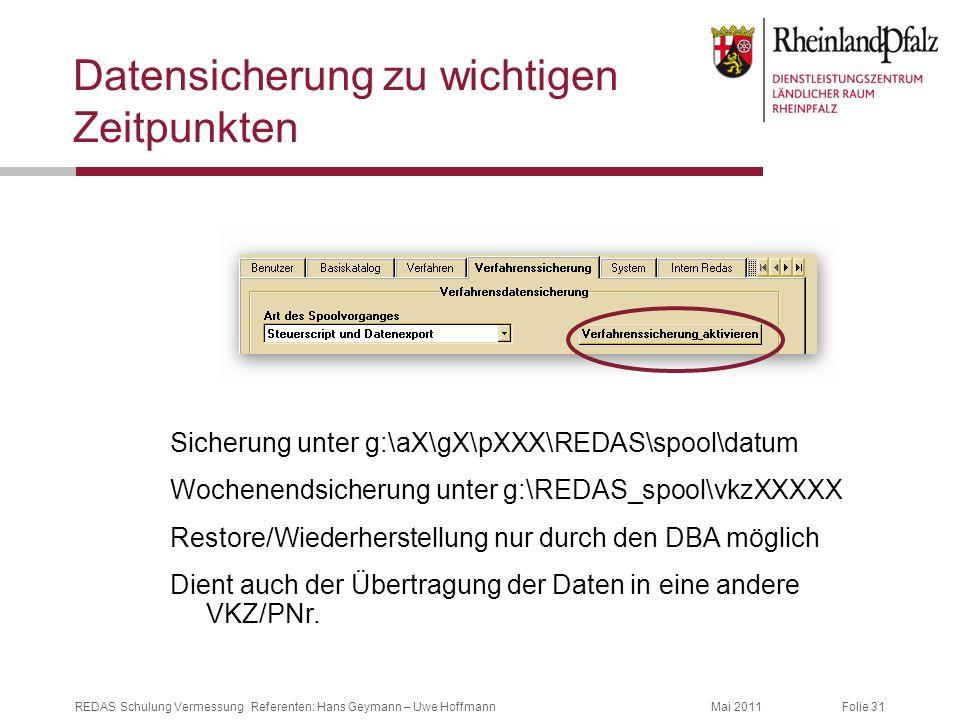 Folie 31Mai 2011REDAS Schulung Vermessung Referenten: Hans Geymann – Uwe Hoffmann Datensicherung zu wichtigen Zeitpunkten Sicherung unter g:\aX\gX\pXX
