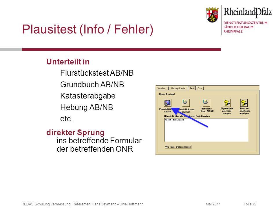 Folie 32Mai 2011REDAS Schulung Vermessung Referenten: Hans Geymann – Uwe Hoffmann Plausitest (Info / Fehler) Unterteilt in Flurstückstest AB/NB Grundb